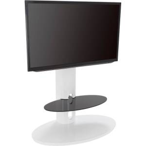 AVF Chepstow Affinity Oval Pedestal TV Stand 930 Gloss White / Black Glass