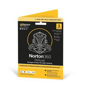 Symantec Norton 360 Deluxe Gaming Internet Security & VPN - 3 Devices - 12 Month Subscription