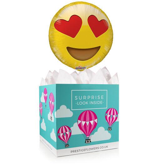 In Love Balloon Box - Balloon in a Box Gifts - Heart Eye Emoji Balloon - Balloon Gifts - Balloon Gift Delivery - Balloon in a Box Gift Delivery