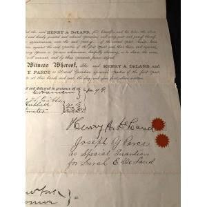 RARE Original 1885 Land Purchase Agreement SIGNED BY HENRY A. DELAND (Central Florida Pioneer and Founder of Deland, Florida) (Floridiana) DELAND, He