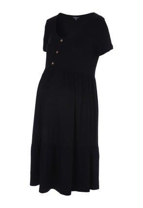 Peacocks Womens Maternity Black Button Dress  - 22