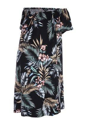 Peacocks Womens Maternity Black Tropical Print Bardot Dress  - 10