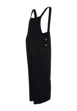 Peacocks Womens Maternity Black Button Detail Dungarees  - 16