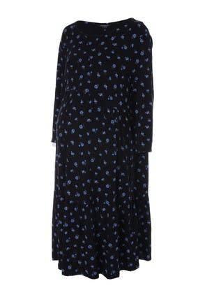 Peacocks Womens Maternity Black Floral Tiered Dress  - 14
