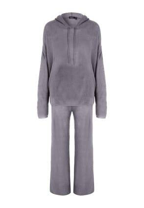 Peacocks Womens Grey Hooded Knitted Lounge Set  - S