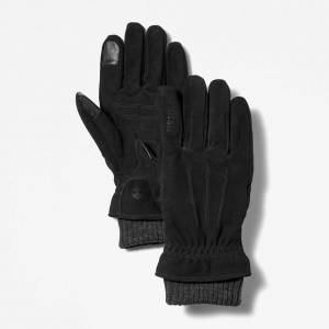 Timberland Sweater-cuff Leather Gloves For Men In Black Black, Size S