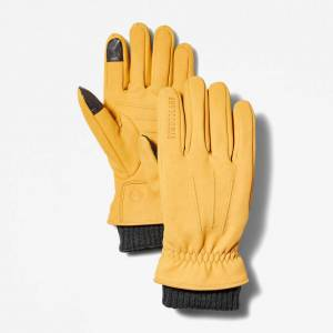 Timberland Sweater-cuff Leather Gloves For Men In Yellow Yellow, Size S