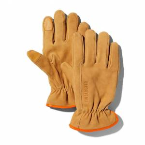 Timberland Utility Leather Gloves For Men In Yellow Yellow, Size M