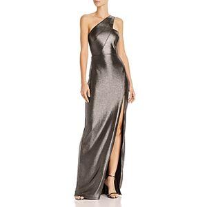 Aidan by Aidan Mattox Metallic Knit One-Shoulder Gown - 100% Exclusive  - Female - Gunmetal/Black - Size: 16