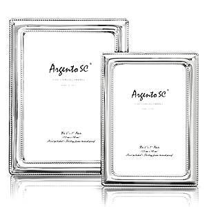 Argento Sc Argento Double Bead Sterling Silver Frame, 5 x 7  - Sterling Silver