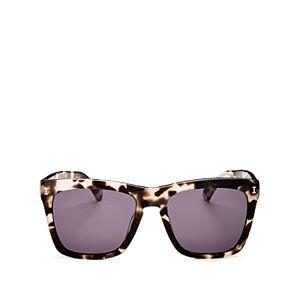 Illesteva Women's Los Feliz Square Sunglasses, 55mm  - White Tortoise/Gray
