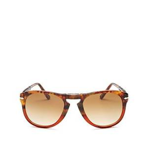 Persol Men's Round Fold-Up Sunglasses, 54mm  - BROWN TORTOISE/CLEAR GRADIENT BROWN - Size: One Size