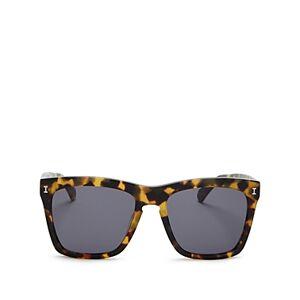 Illesteva Women's Los Feliz Square Sunglasses, 55mm  - Tortoise/Gray