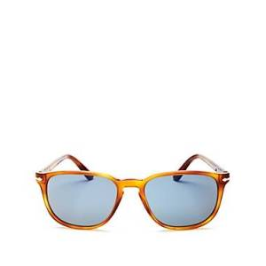 Persol Men's Square Sunglasses, 55mm  - Male - Lite Tortoise/Blue Solid