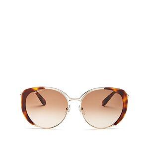 Salvatore Ferragamo Women's Classic Oversized Cat Eye Sunglasses, 60mm  - Female - Gold/Tortoise/Brown Gradient