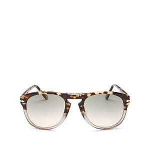 Persol Men's Round Fold-Up Sunglasses, 54mm  - Male - BROWN TORTOISE/CLEAR GRADIENT GREY + AR BLUE LENS