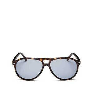 Look Optic Unisex Liam Brow Bar Aviator Sunglasses, 57mm  - Unisex - Tortoise/Blue Solid - Size: +2.50