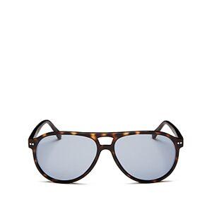 Look Optic Unisex Liam Brow Bar Aviator Sunglasses, 57mm  - Unisex - Tortoise/Blue Solid - Size: +1.50