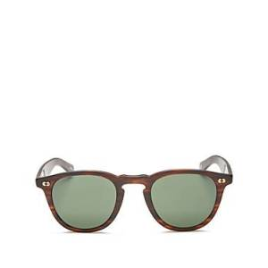 Garrett Leight Unisex Hampton X Round Sunglasses, 46mm  - Unisex - Matte Brandy Tortoise/Pure G15 - Size: One Size