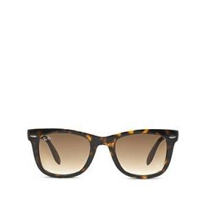 Ray-Ban Unisex Folding Wayfarer Sunglasses, 50mm  - Tortoise/Brown Gradient