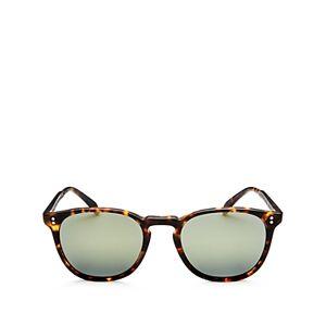 Oliver Peoples Women's Finley Esq Polarized Round Sunglasses, 51mm  - Female - Matte Sable Tortoise/Gray Mirror Polarized