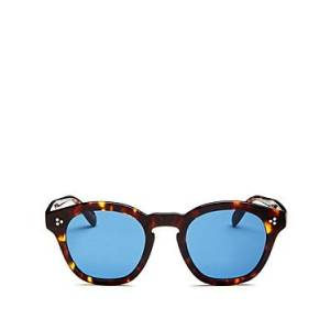 Oliver Peoples Women's Boudreau Round Sunglasses, 48mm  - Female - Tortoise/Blue