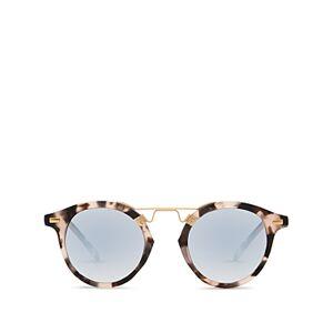 Krewe Unisex St. Louis 24K Round Sunglasses, 46mm  - Unisex - Matte Sunday Tortoise Gold/Silver Gradient Mirror