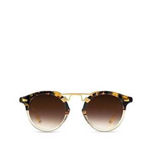 Krewe Unisex St. Louis 24K Round Sunglasses, 46mm  - Blonde Tortoise/Champagne/Amber Gradient