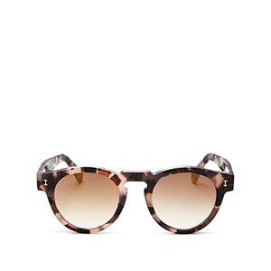 Illesteva Unisex Leonard Round Sunglasses, 48mm  - Blush Tortoise/Gold Gradient