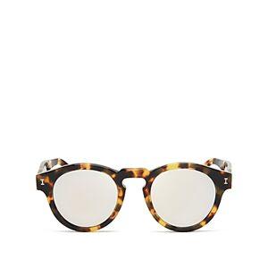 Illesteva Women's Leonard Mirrored Round Sunglasses, 48mm  - Female - Tortoise/Silver Mirror