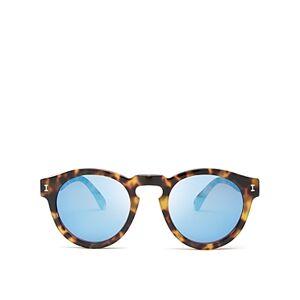 Illesteva Women's Leonard Mirrored Round Sunglasses, 48mm  - Female - Tortoise/Blue Mirror