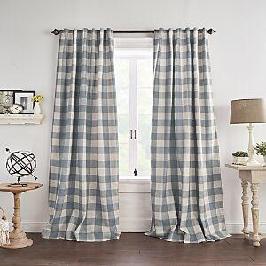 Elrene Home Fashions Grainger Buffalo Check Blackout Window Curtain, 52 x 95  - Chambray