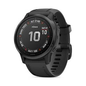 Garmin Fenix 6S Black Silicone Strap Smartwatch, 42mm  - Unisex - Black