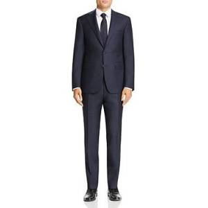 Canali Capri Melange Twill Solid Slim Fit Suit  - Male - Navy - Size: 52S IT / 42S US