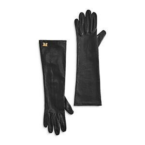 Max Mara Afide Leather Gloves  - Female - Black - Size: 7.5