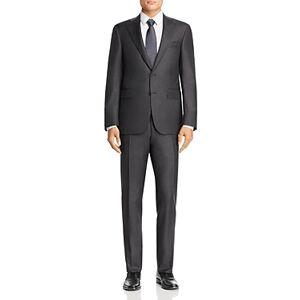 Canali Capri Sharkskin Slim Fit Suit  - Charcoal - Size: 48S IT / 38S US