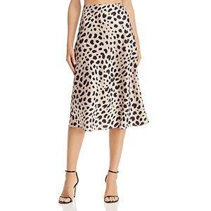 Aqua Satin Midi Slip Skirt - 100% Exclusive  - Female - Tan/Black - Size: Large