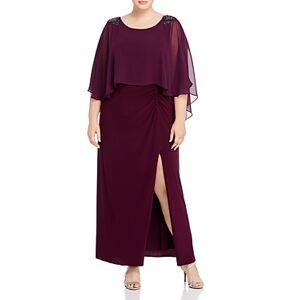 Adrianna Papell Plus Embellished Chiffon Capelet Dress  - Female - Shiraz - Size: 18W