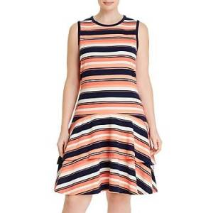 Michael Michael Kors Plus Striped Sleeveless Dress  - Female - Coral Peach - Size: 3X
