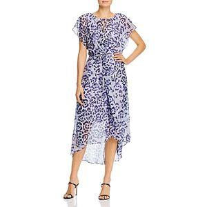 Adrianna Papell Leopard Print High/Low Dress  - Female - Purple Multi - Size: 6