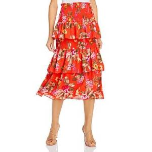 Wayf Byron Tiered Smocked Midi Skirt  - Female - Passion Floral - Size: Extra Large