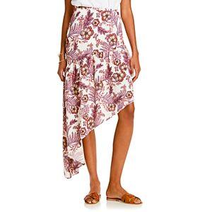 Lini Meagan Printed Asymmetric Midi Skirt - 100% Exclusive  - Female - White Multi - Size: Large