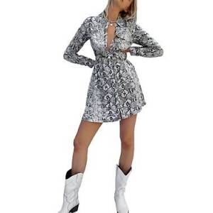 French Connection Graziana Light Snake Print Dress  - Female - Cream Snake - Size: 6