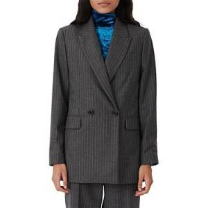 Maje Visland Pinstriped Double Breasted Wool & Cashmere Blazer  - Female - Gray - Size: Extra Small