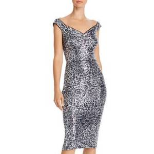 Aqua Sequin Leopard Print Sheath Dress - 100% Exclusive  - Female - Champagne/Silver - Size: 6