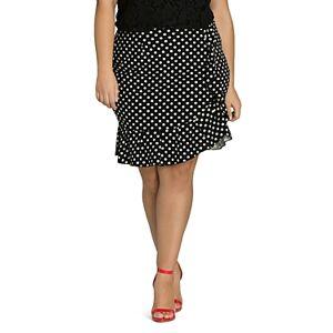 City Chic Plus Dotted Faux-Wrap Ruffle Skirt  - Female - Black Spot - Size: 2X-Large