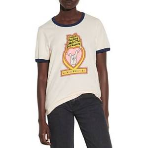Sandro Frenchy Cotton Graphic Tee  - Beige - Size: Extra Small