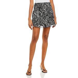 Aqua Smocked Floral Mini Skirt - 100% Exclusive  - Black/Ivory - Size: Large