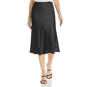 Aqua Satin Midi Slip Skirt - 100% Exclusive  - Black - Size: Large