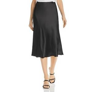 Aqua Satin Midi Slip Skirt - 100% Exclusive  - Black - Size: Large